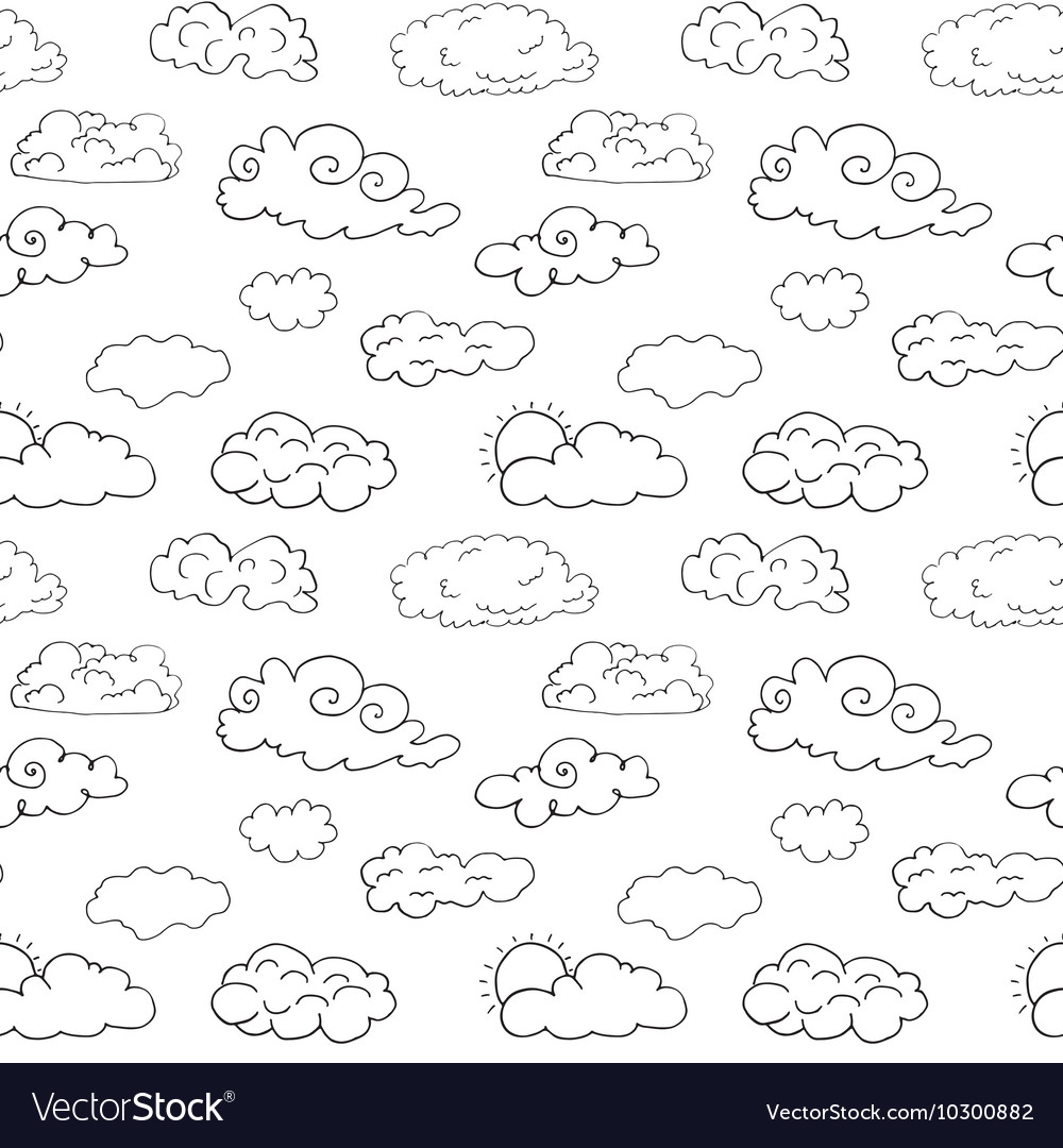 Hand drawn doodle set different clouds sketch