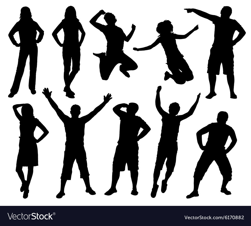 Happy active people silhouettes