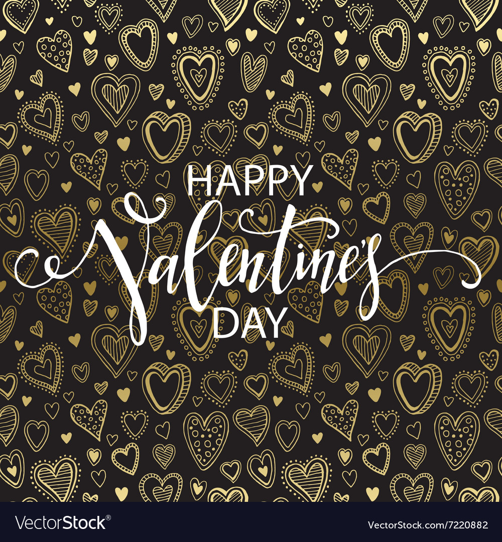 Happy valentines day hand drawing lettering design