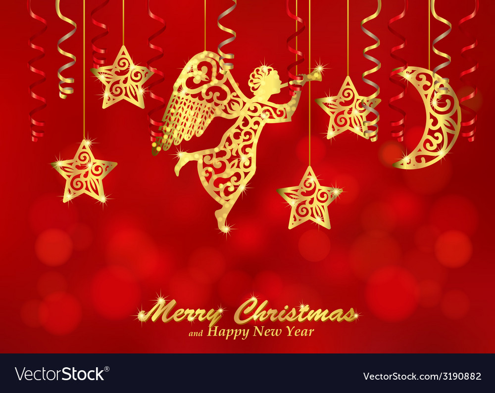 Holiday red background with golden figures of