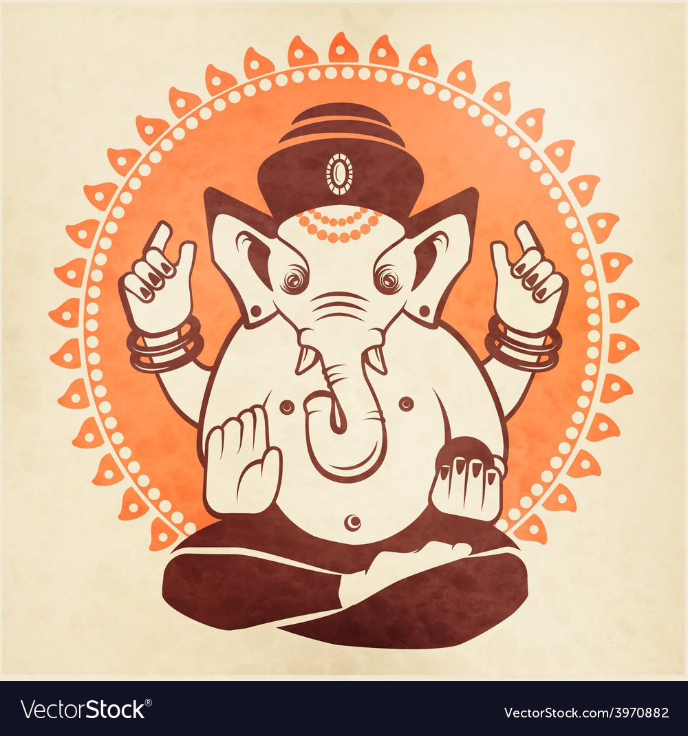 Indian god Ganesha on a beige background