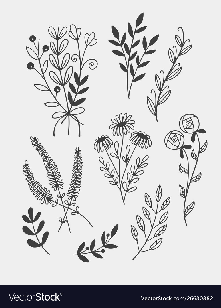 Little branches and florals for tiny tattoo hand