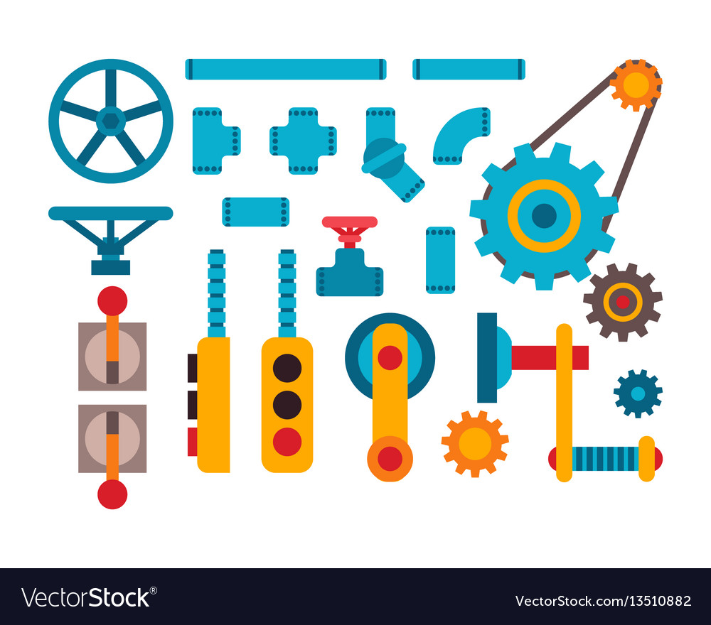 Machine Parts Different Mechanism Royalty Free Vector Image