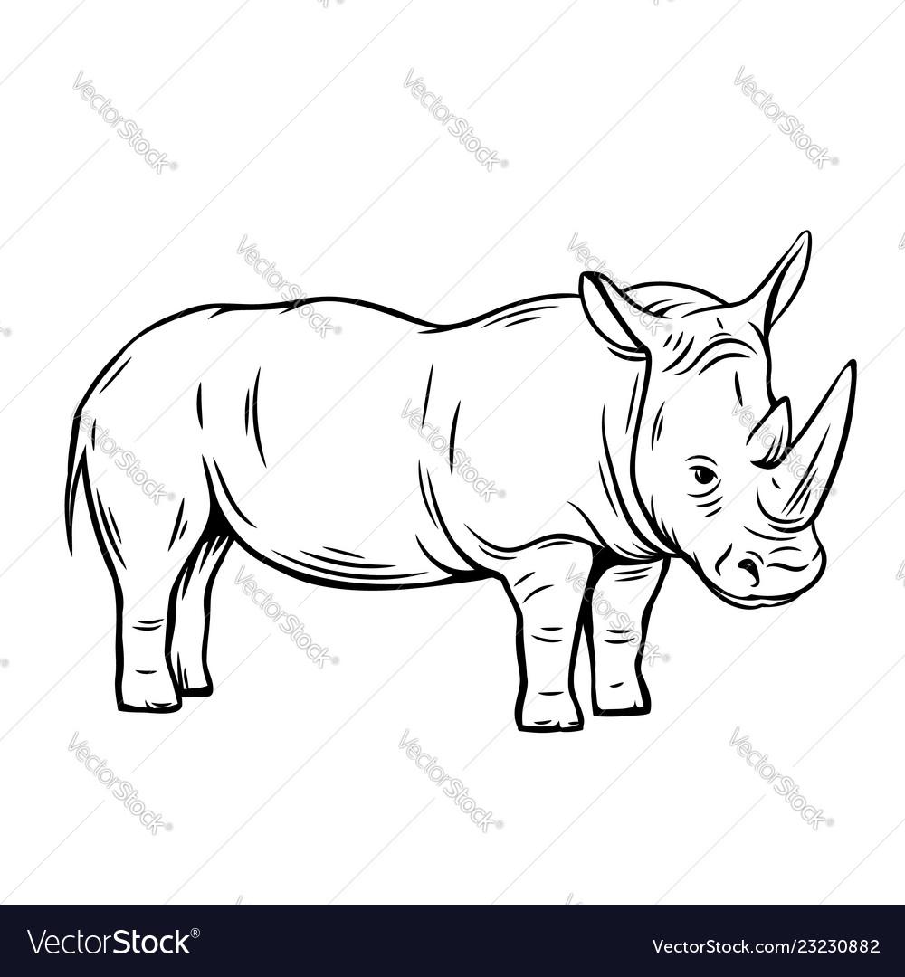 Outline rhinoceros icon