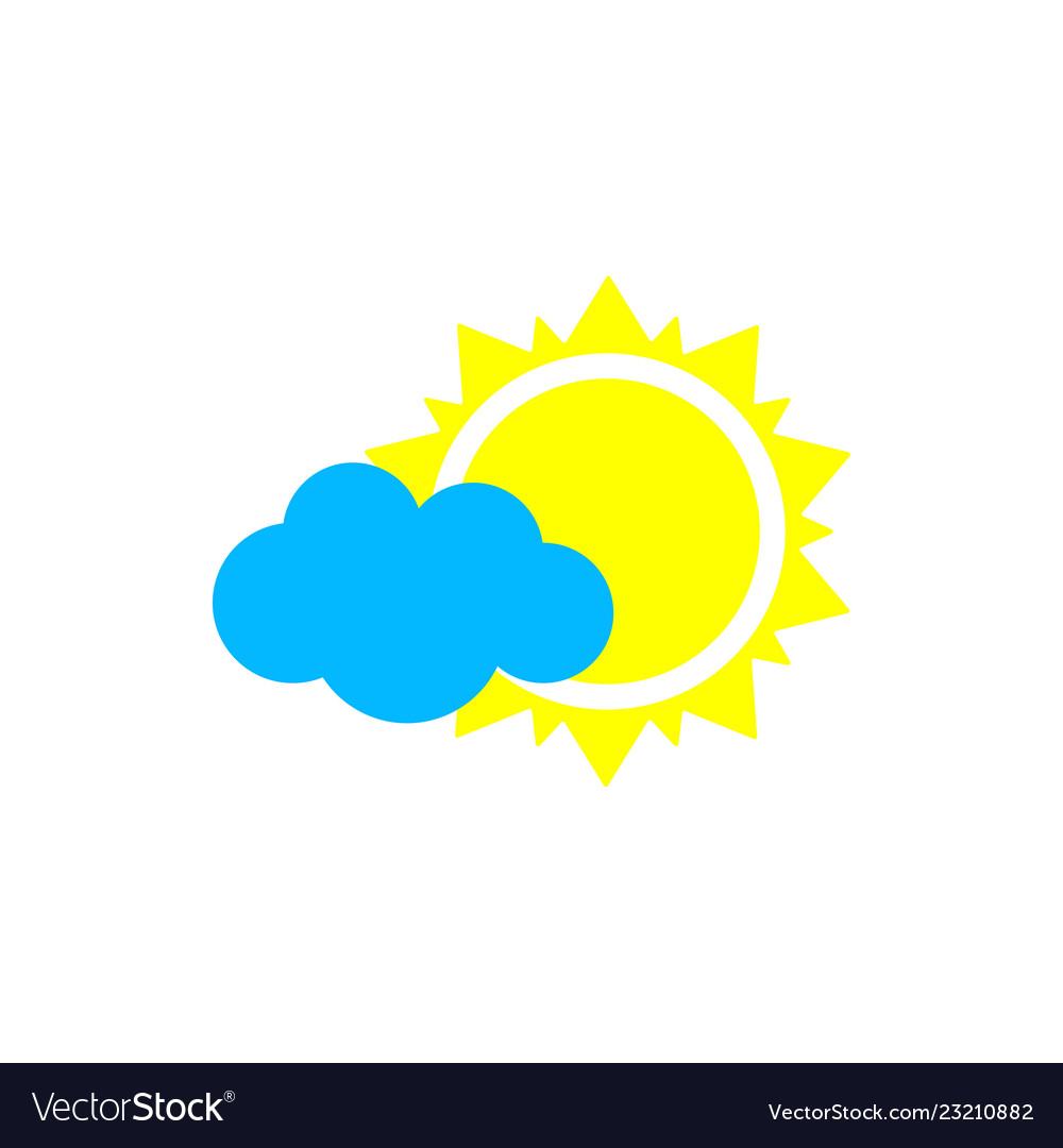 Sun with cloud weather icon flat