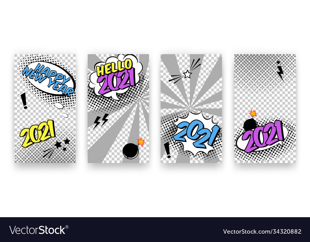 Trendy editable winter happy 2021 new year and vector