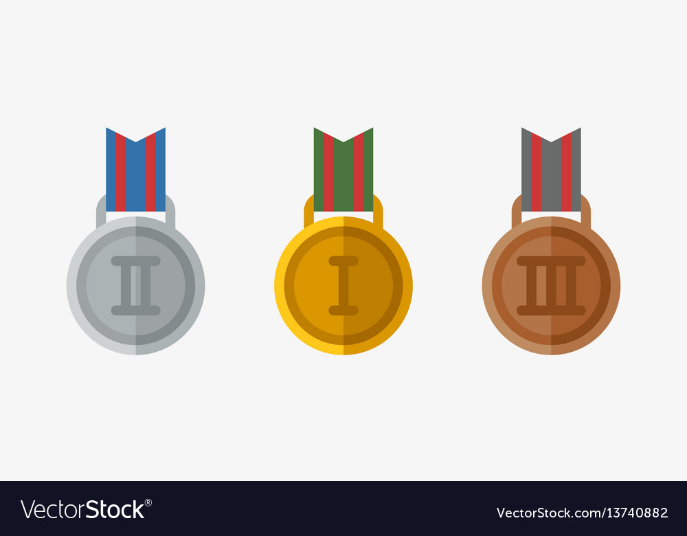 Trophy champion medal flat icon winner gold