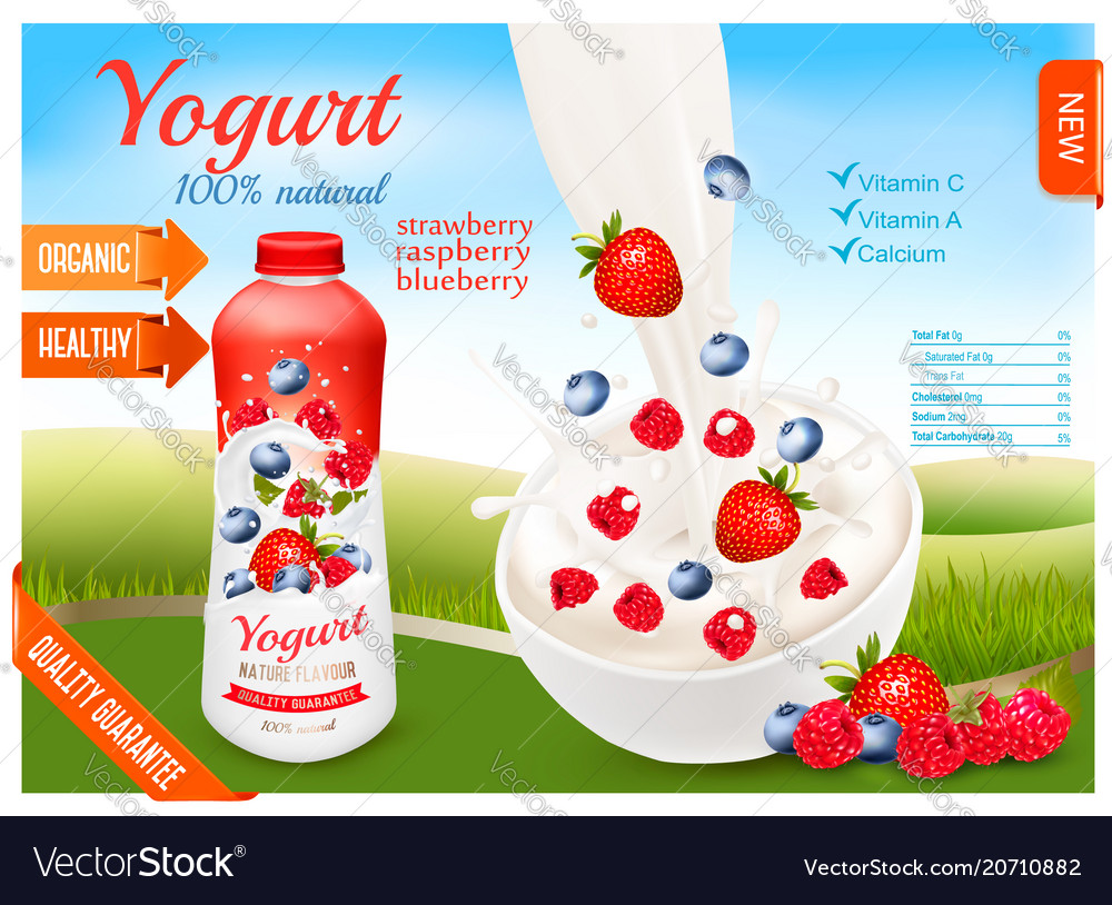 Yogurt with berries in bottle fruits and milk