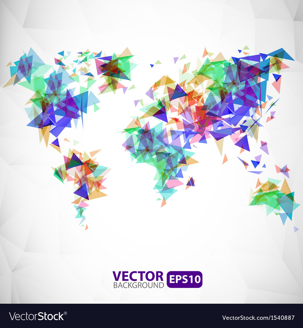 Abstract triangle world map with explosion vector image gumiabroncs Gallery