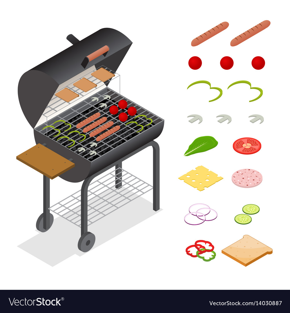 Barbecue isometric view