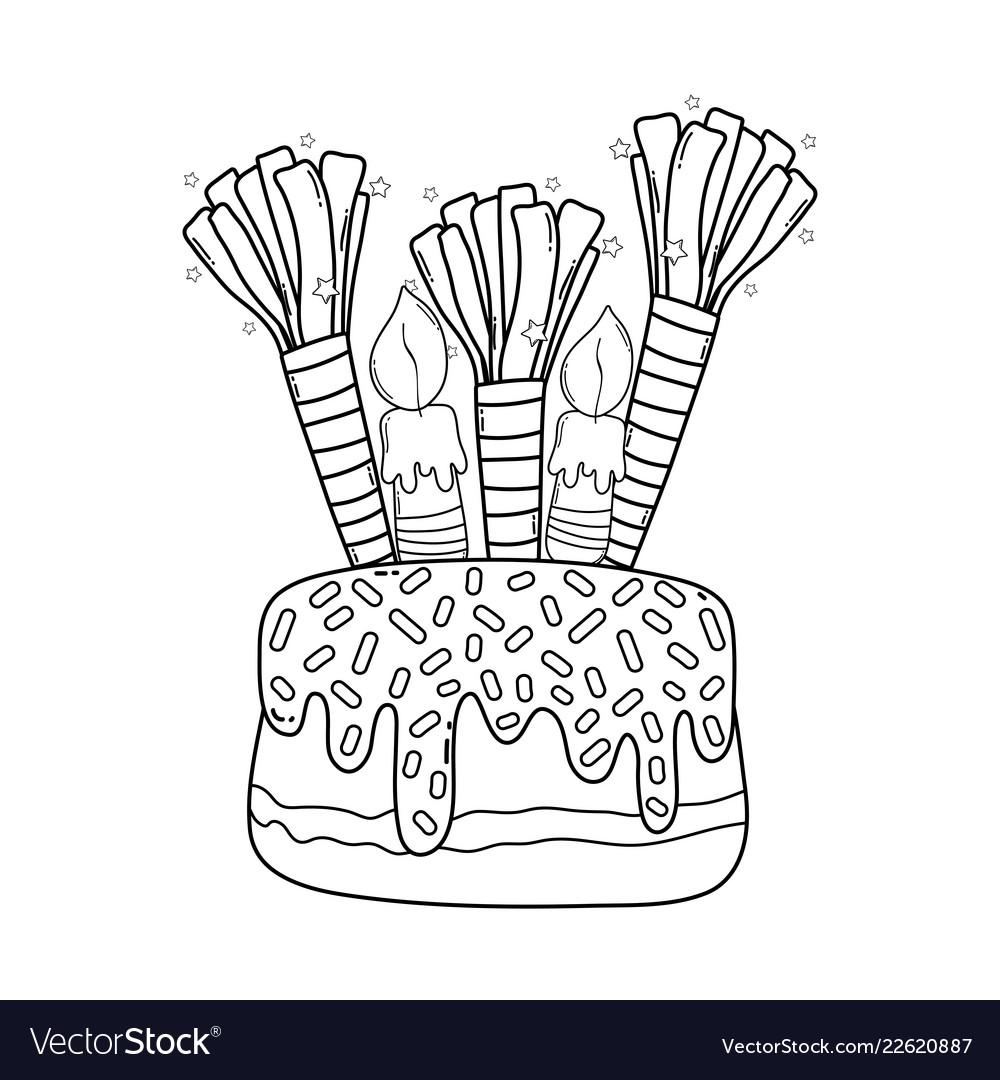 Birthday Cake Cartoon Black And White Royalty Free Vector