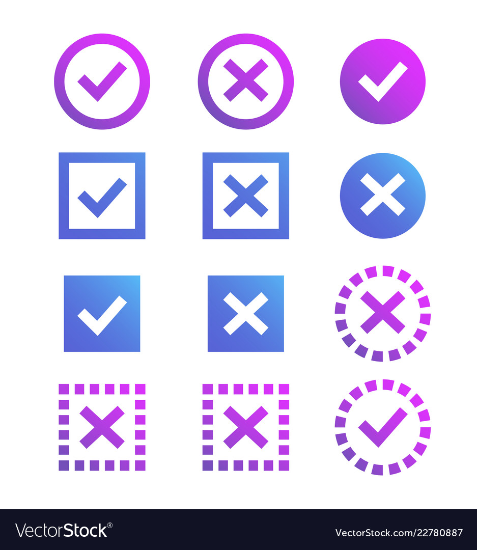 Check mark icon blue and purple marks and crosses