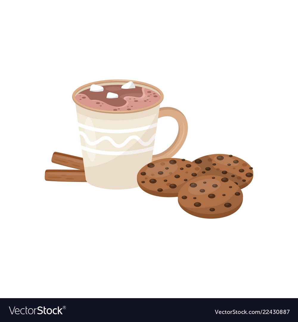 Cup of hot chocolate with marshmallow cookies and
