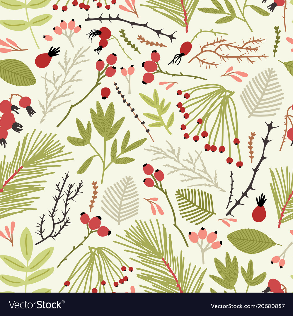 Elegant seamless pattern with branches of
