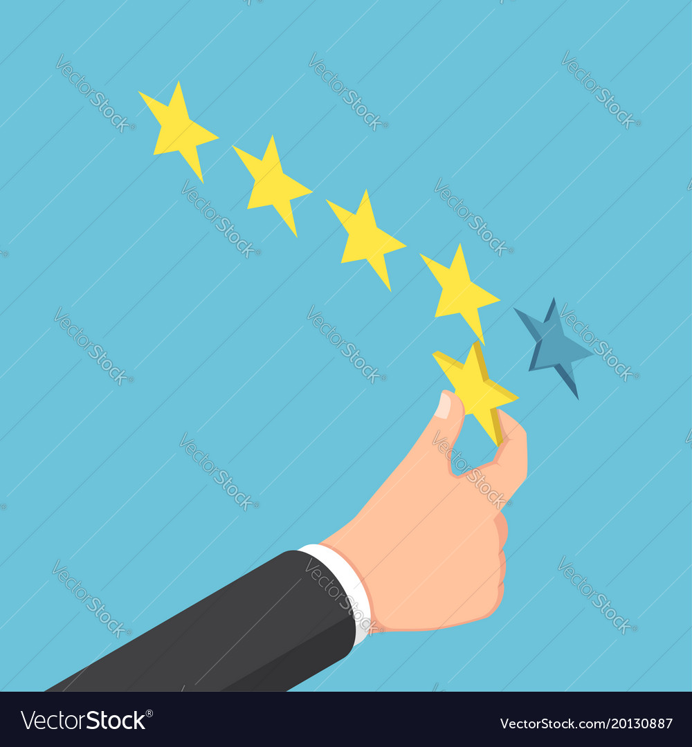 Isometric businessman hand giving five star rating