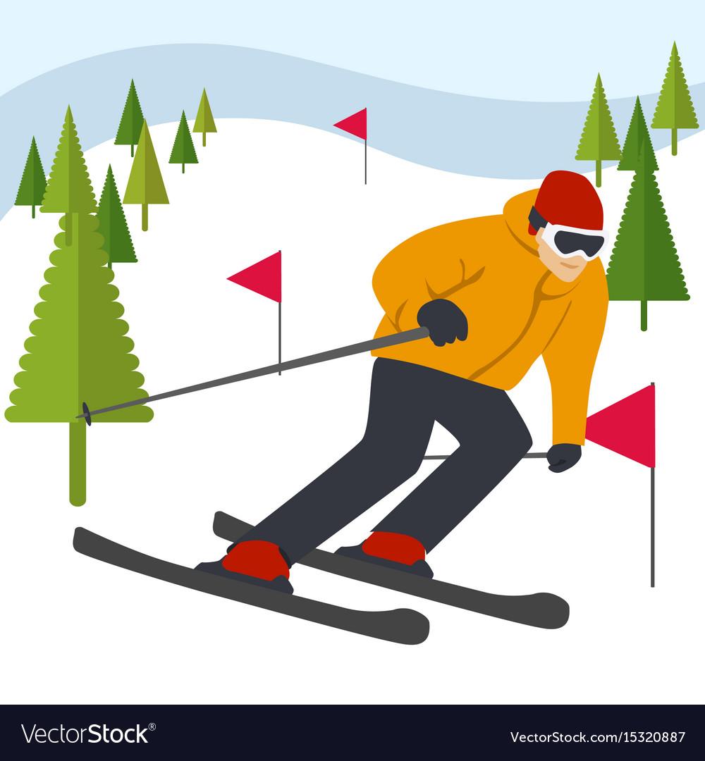 Mountain skier slides from mountain