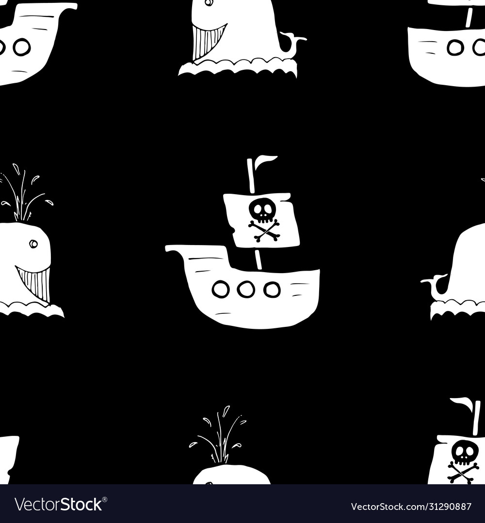 Pirate boat and whale seamless pattern cute