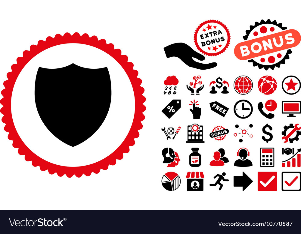 Shield Flat Icon with Bonus vector image
