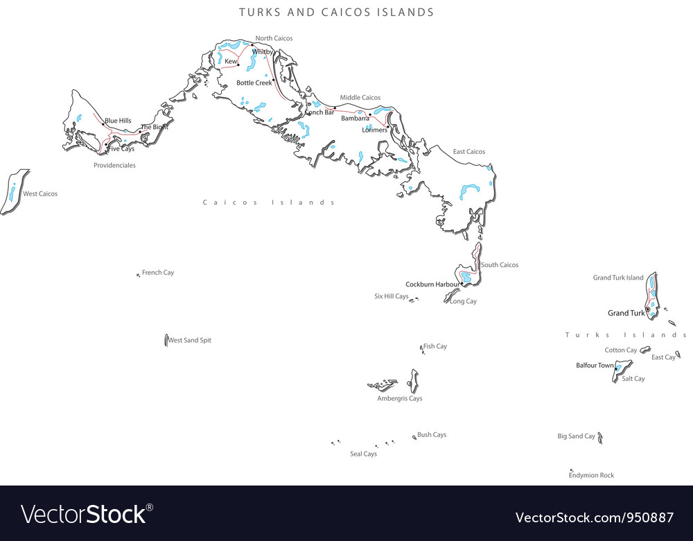 Turks And Caicos Islands Black White Map