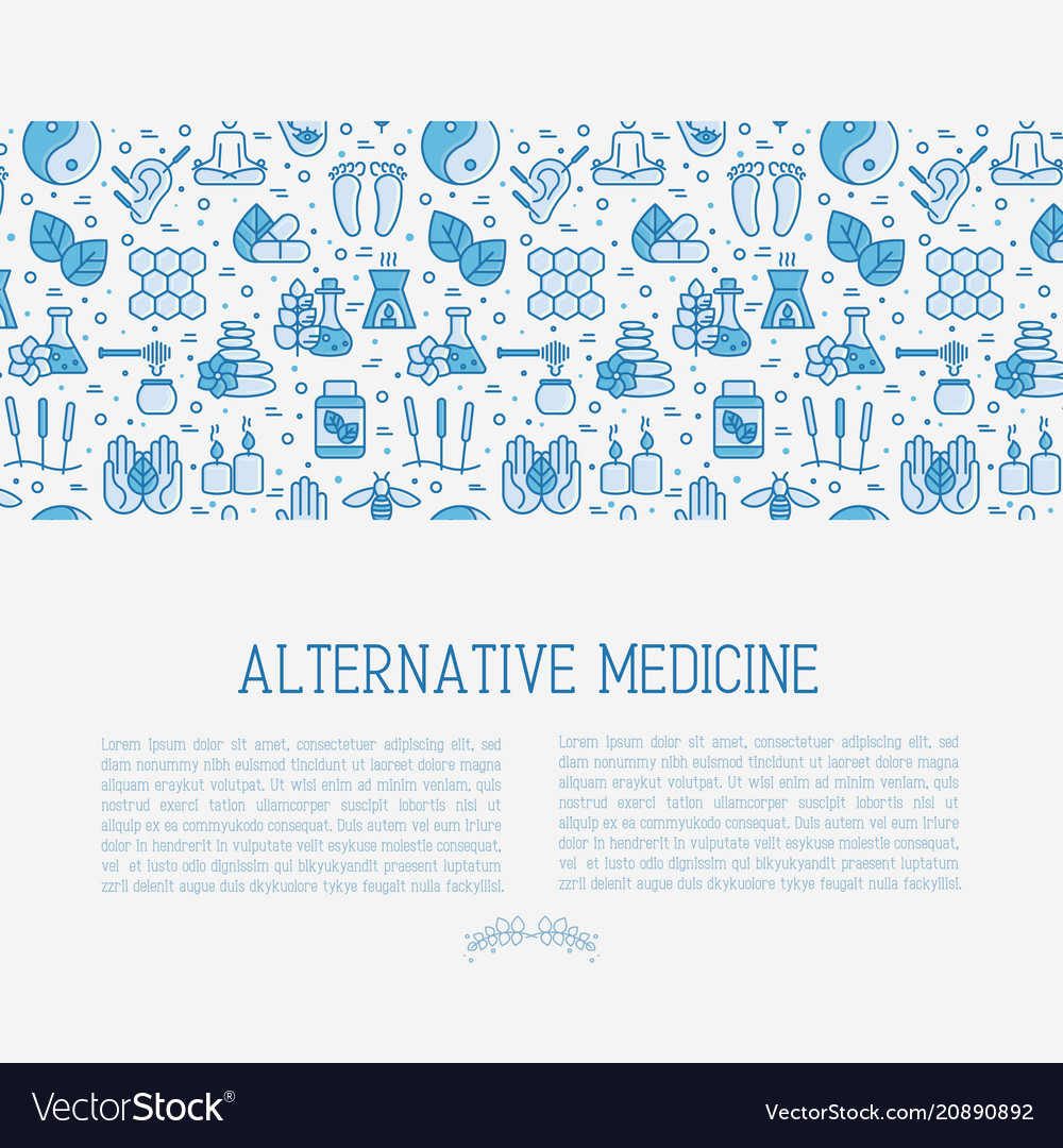 Alternative medicine concept with thin line icons