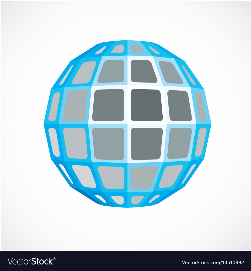 Blue faceted orb created from squares dimensional
