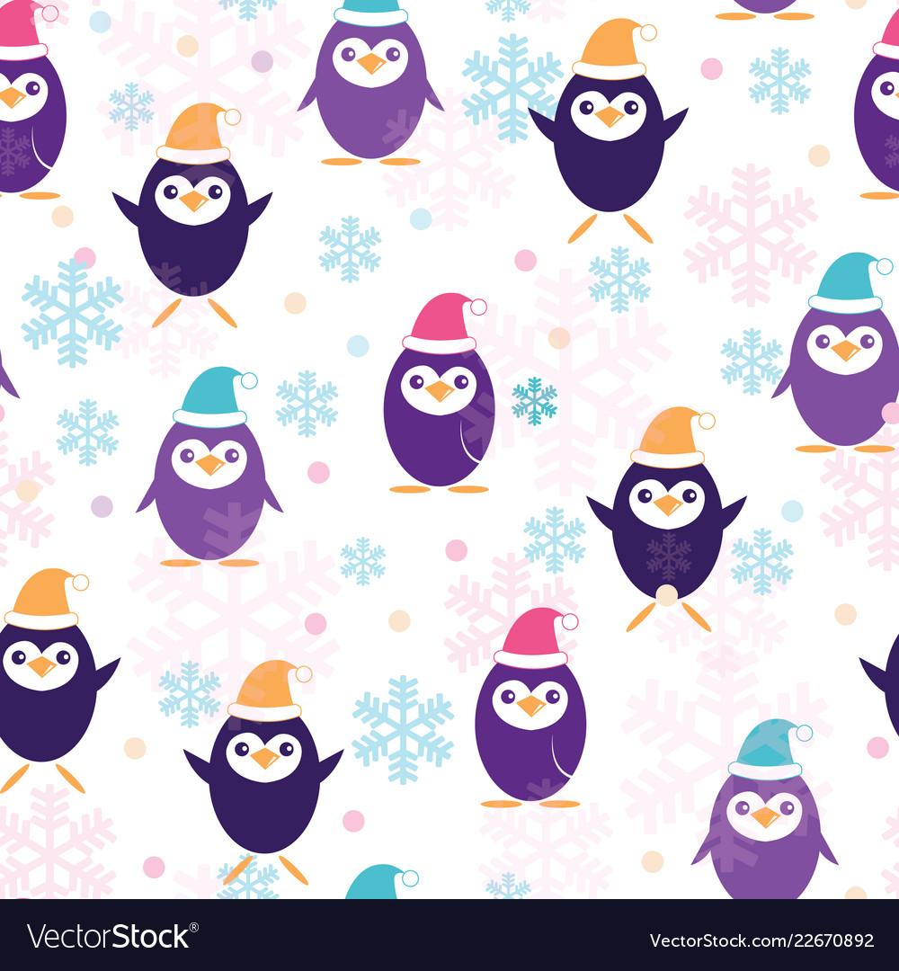 Cute penguins in santa claus hat seamless pattern