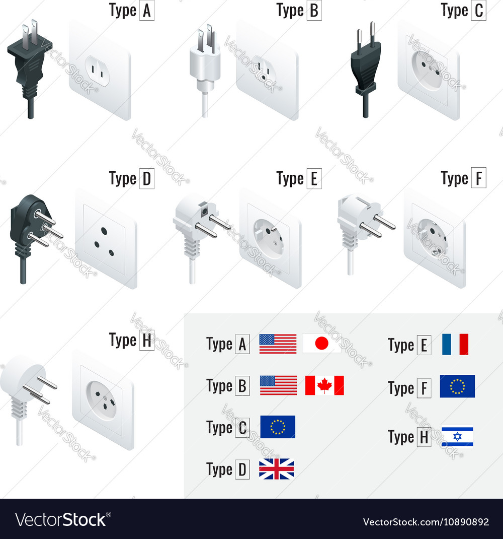 Electrical Plug Types Type A Type B Type C Vector Image - 37+ What Is A Type F Plug? Pics