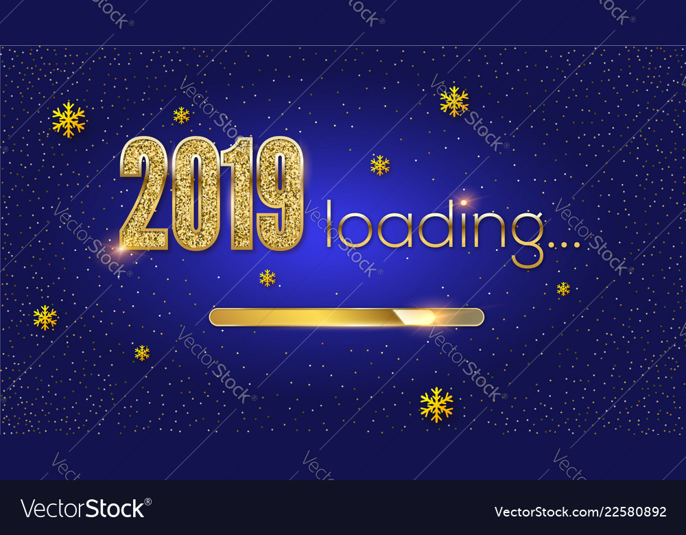 Greetings with loading new year 2019 golden load