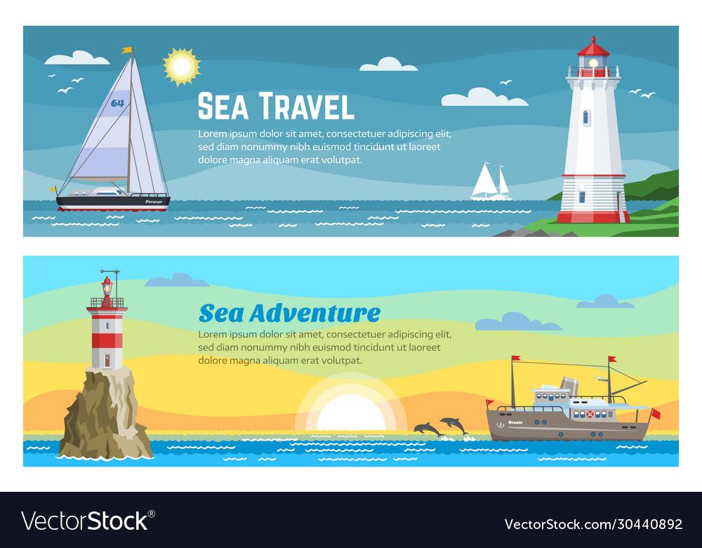 Lighthouse sea travel banners set