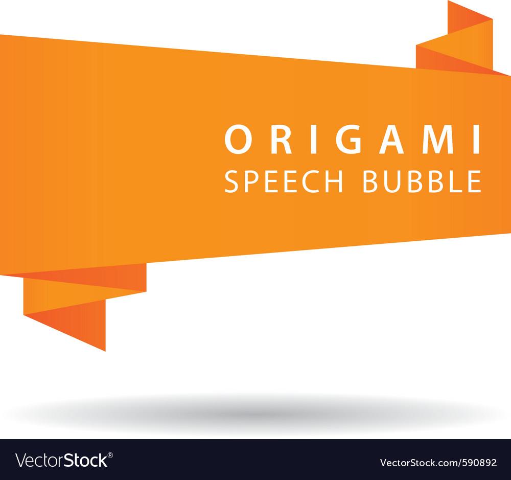 Orange origami speech bubble vector image