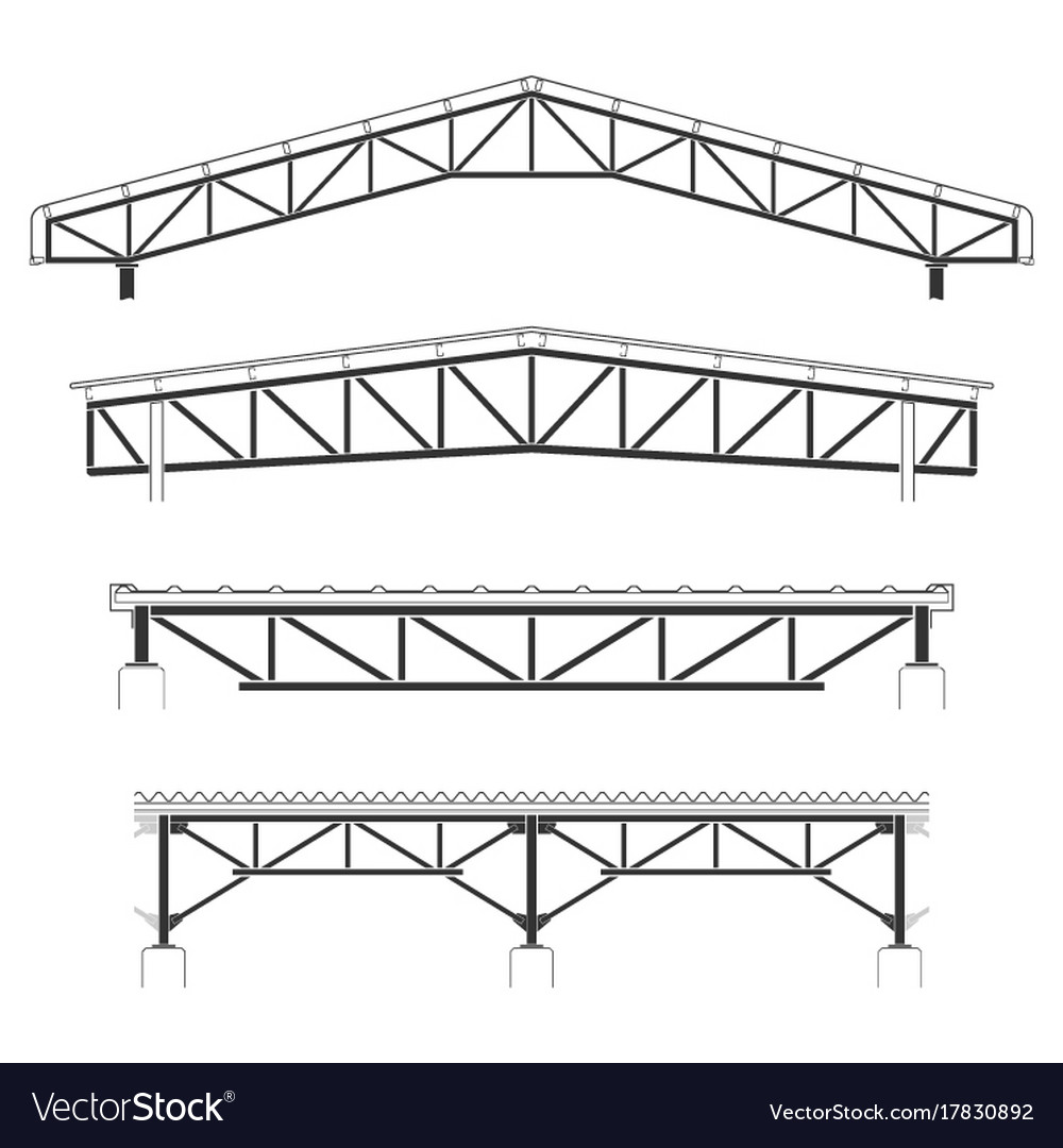 Roofing buildingsteel frame cover roof truss Vector Image