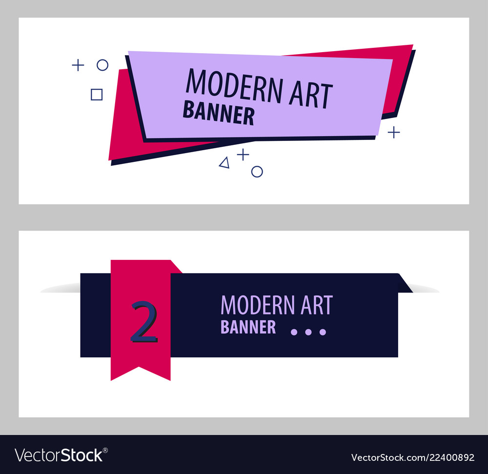 Set Of Flat Linear Promotion Ribbon Banner Scroll Vector Image On Vectorstock