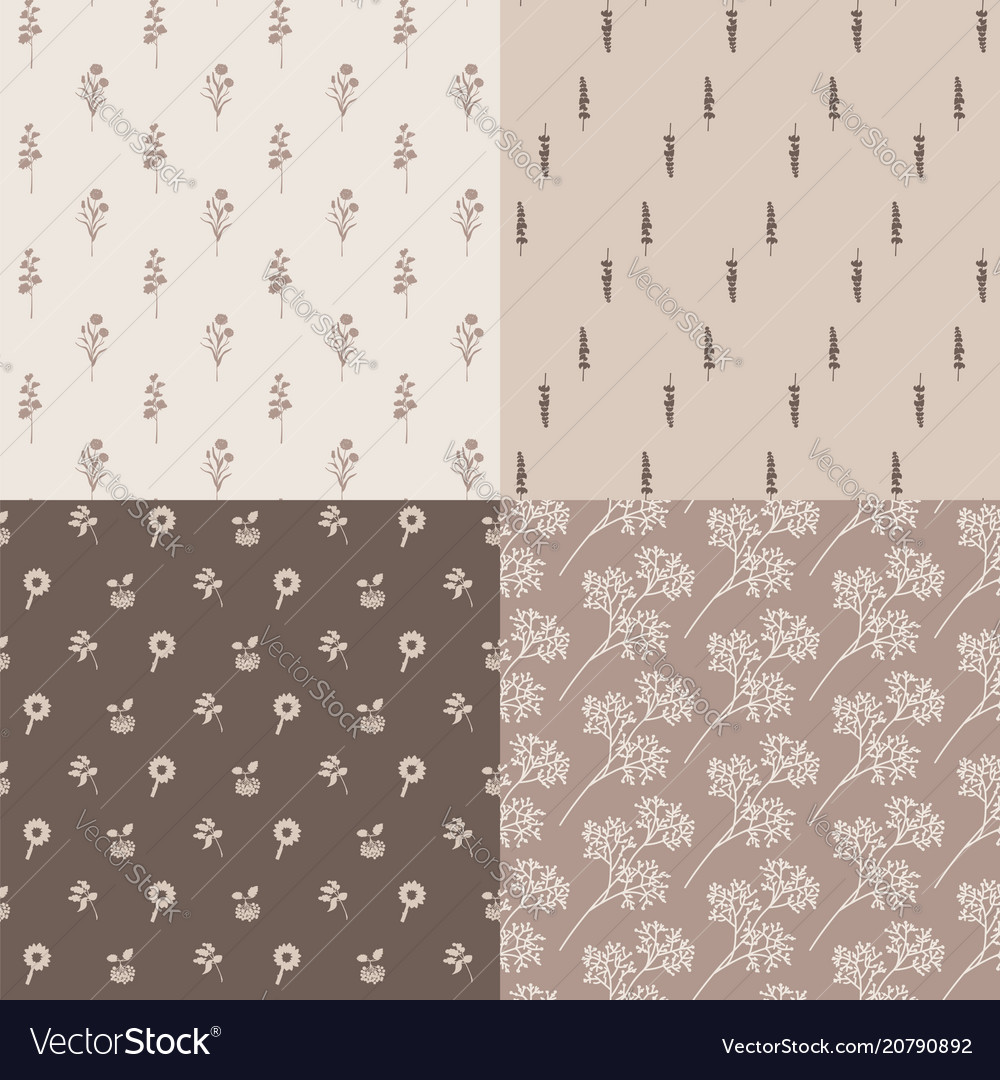 Set of seamless abstract floral pattern retro vector image