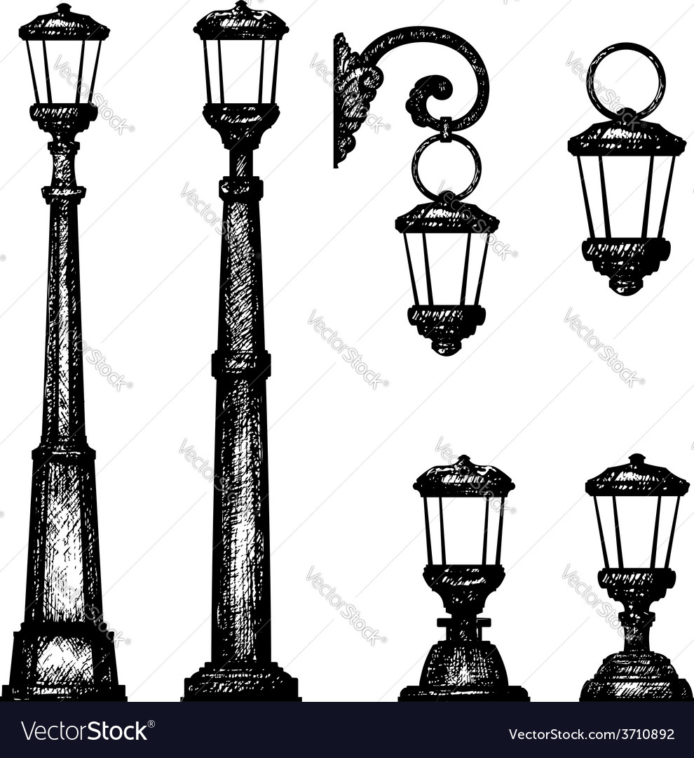 Sketch of street light drawing Royalty Free Vector Image for Street Light Sketch  51ane