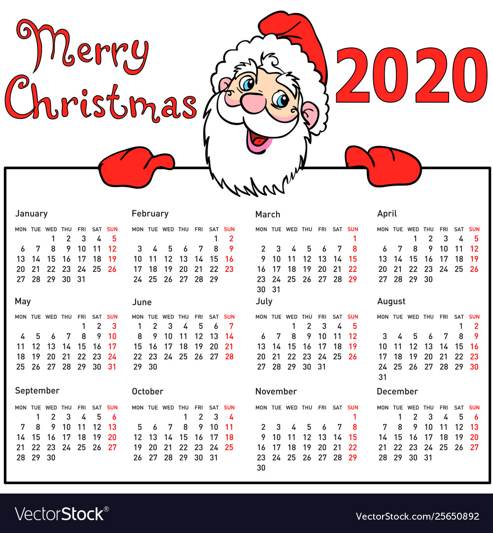 Calendar Christmas 2020 Stylish calendar withmuscular santa claus for 2020