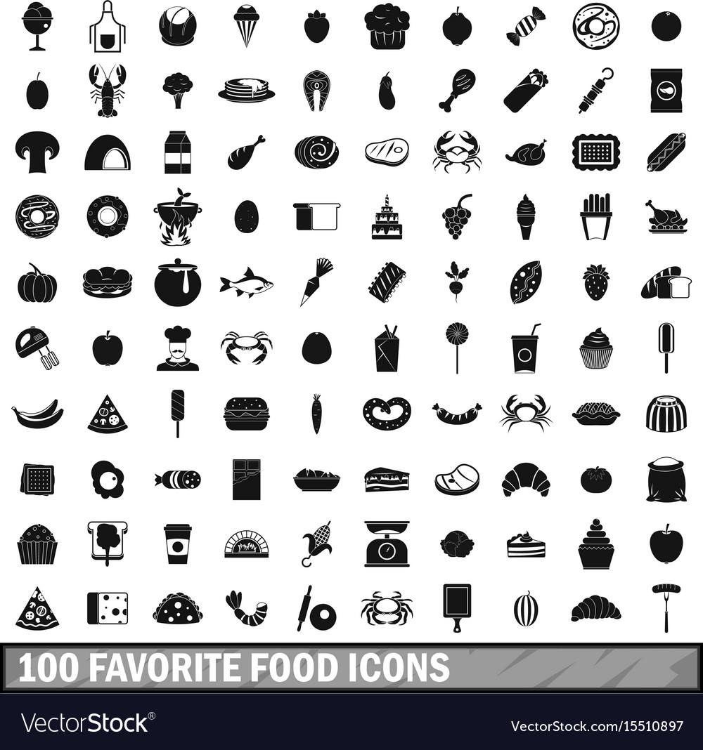 100 favorite food icons set simple style