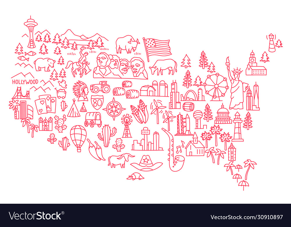 America set icons usa tourist attraction