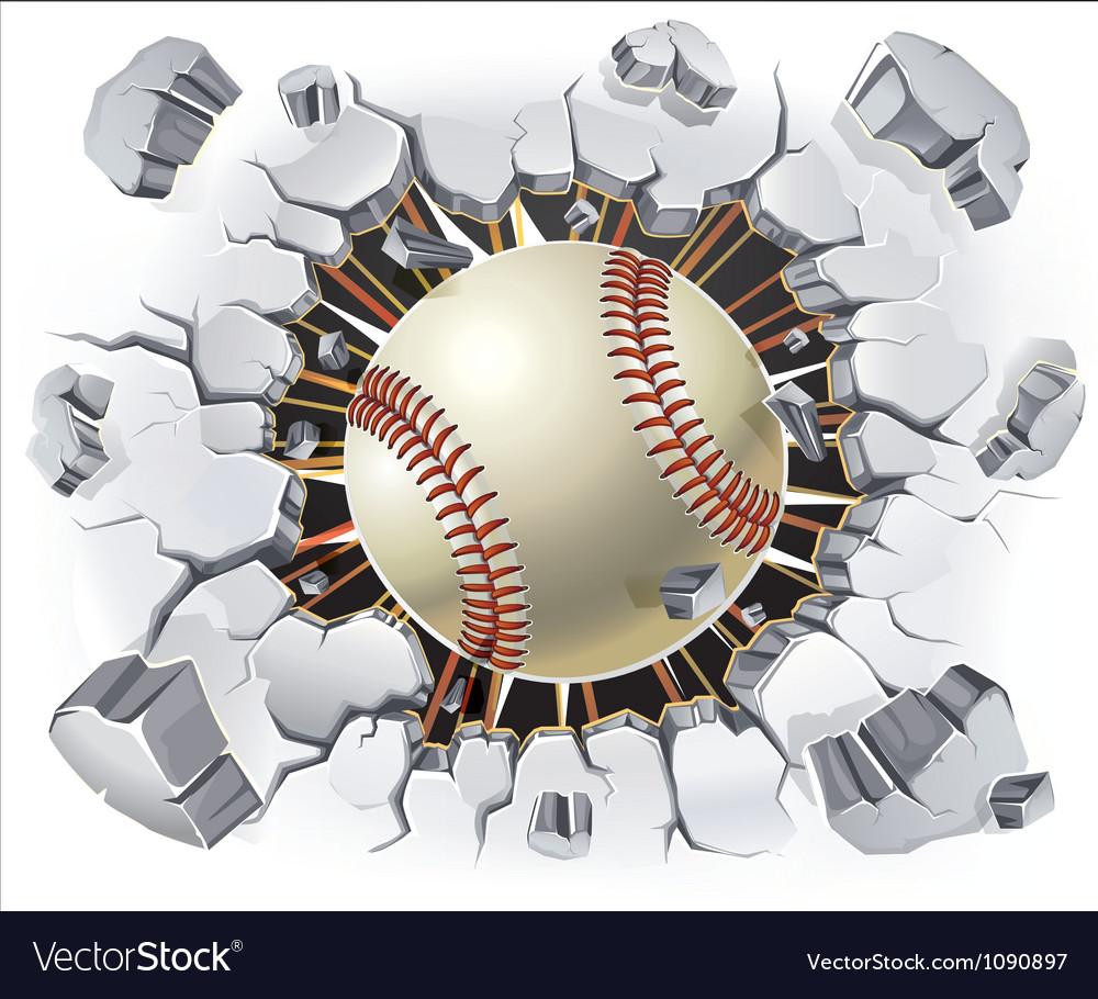 Baseball and Old Plaster wall damage