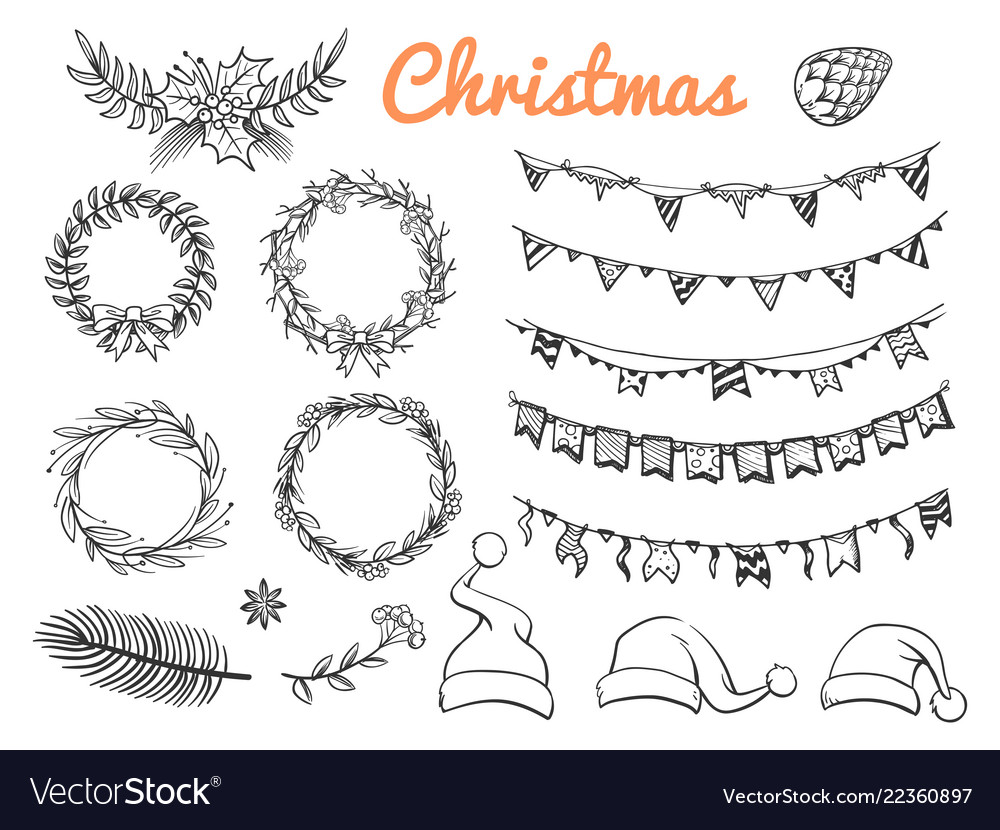 Big sketch christmas symbols elements