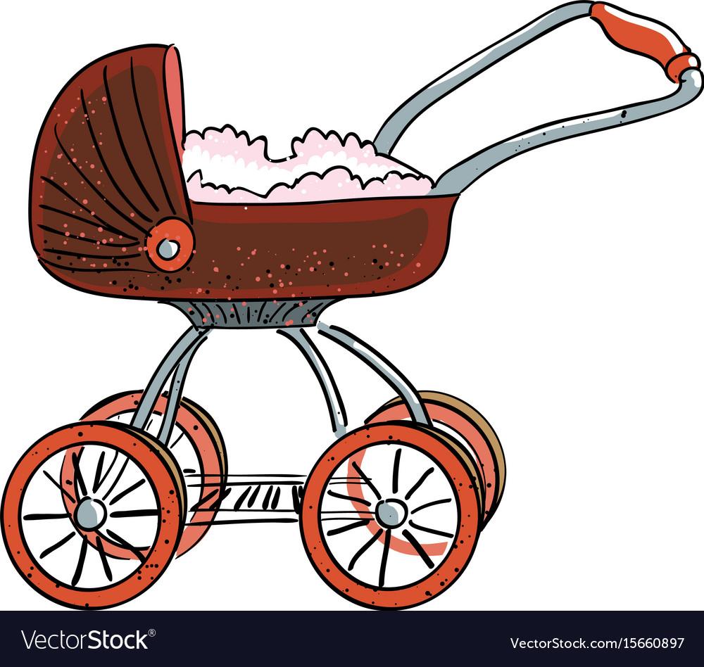 Cartoon image of stroller icon pram symbol