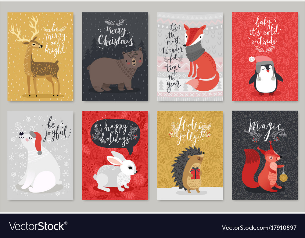 Christmas animals card set christmas animals card