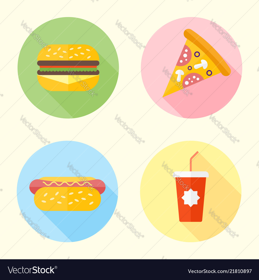 Fast food flat design round icons with long shadow