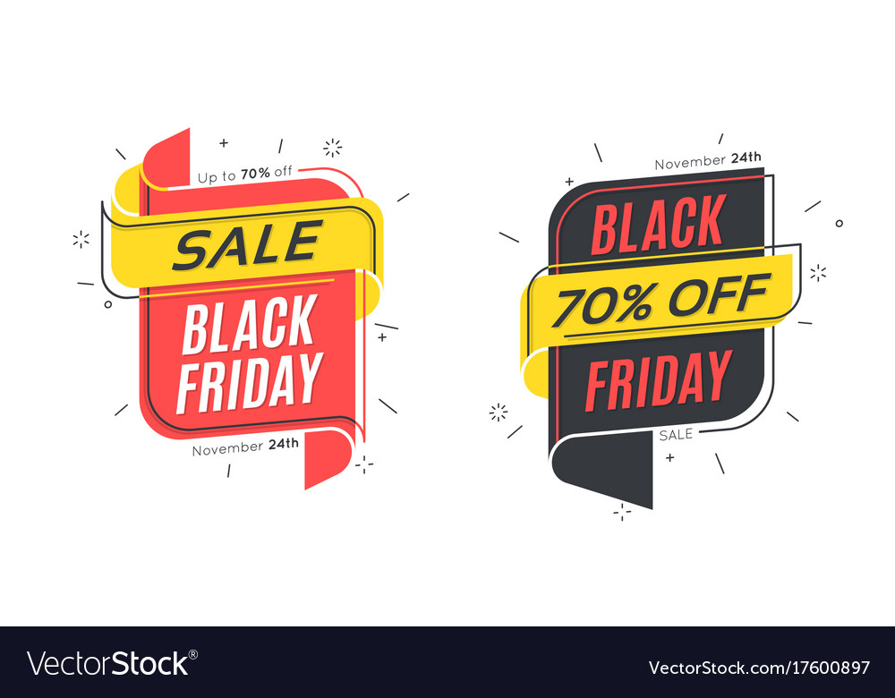 Flat linear bubble black friday sale banners
