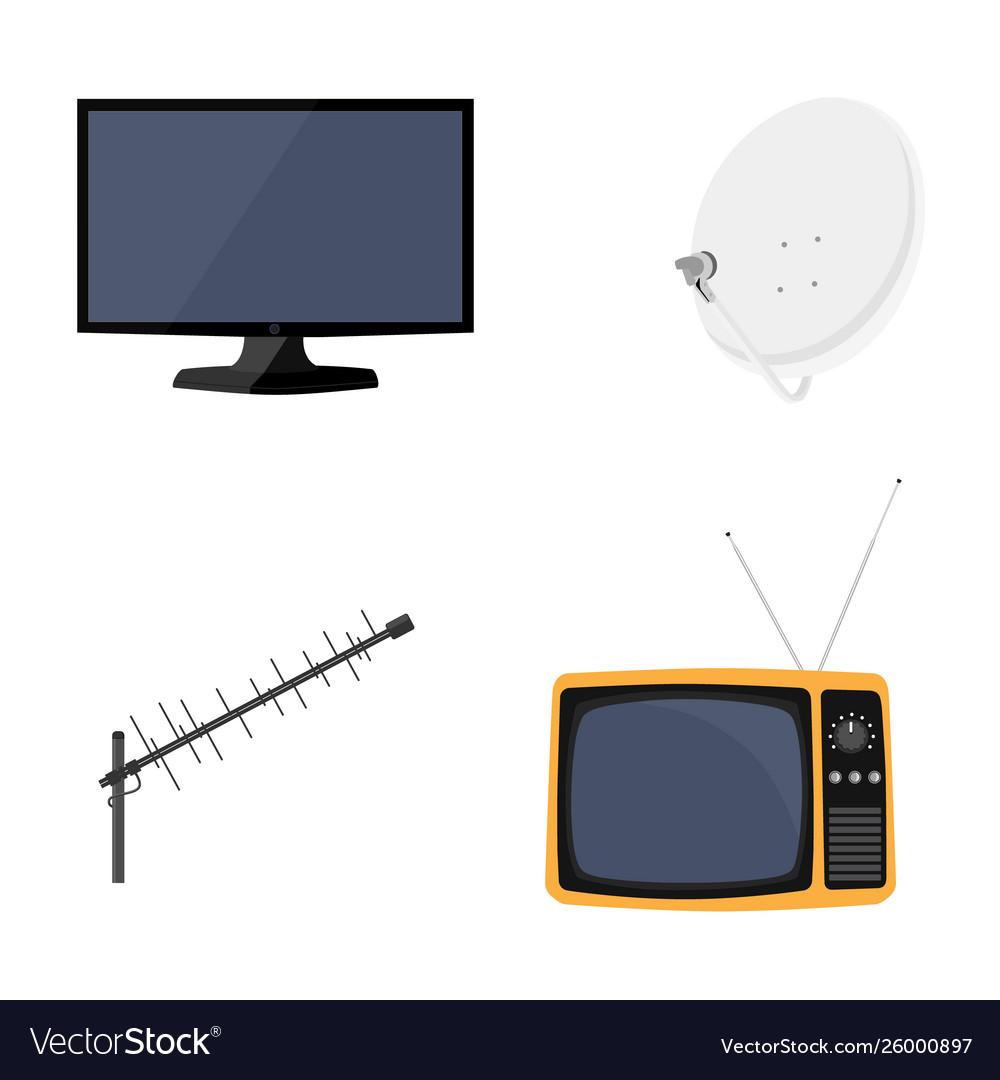 Satellite dish antenna new modern lcd tv monitor