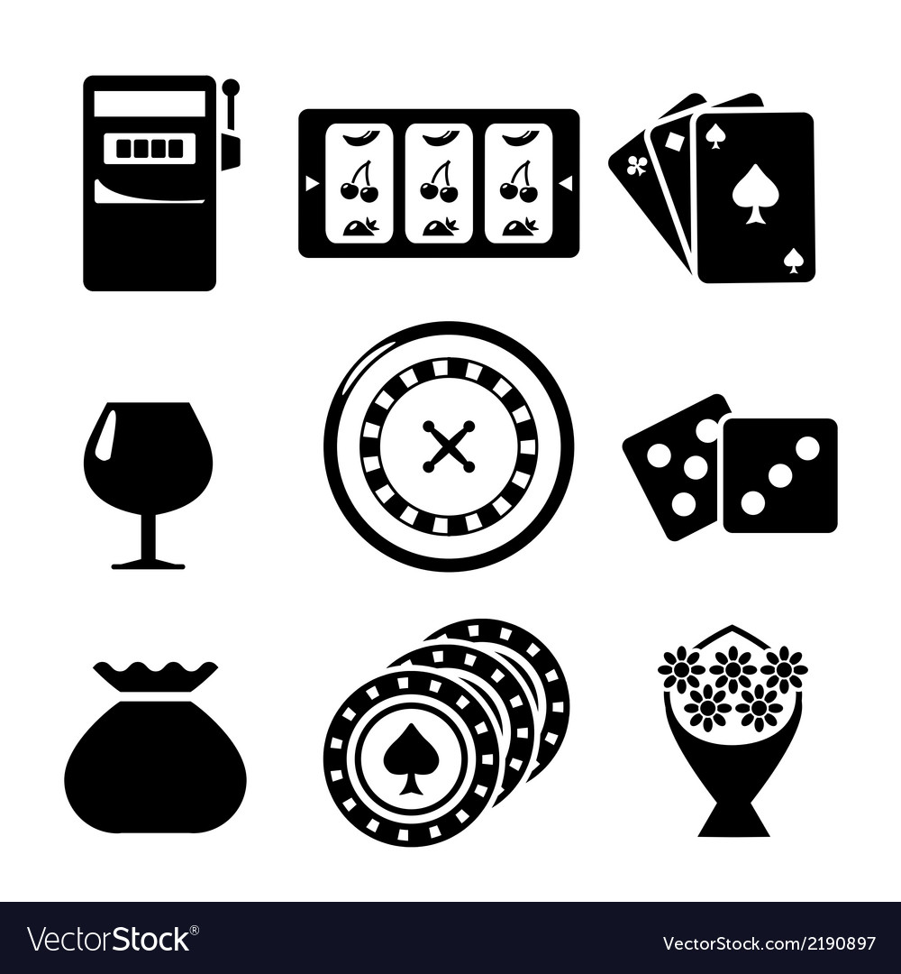 Set icons of casino vector image