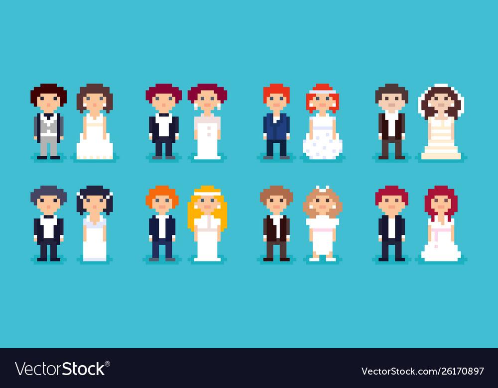 Set pixel art wedding couples