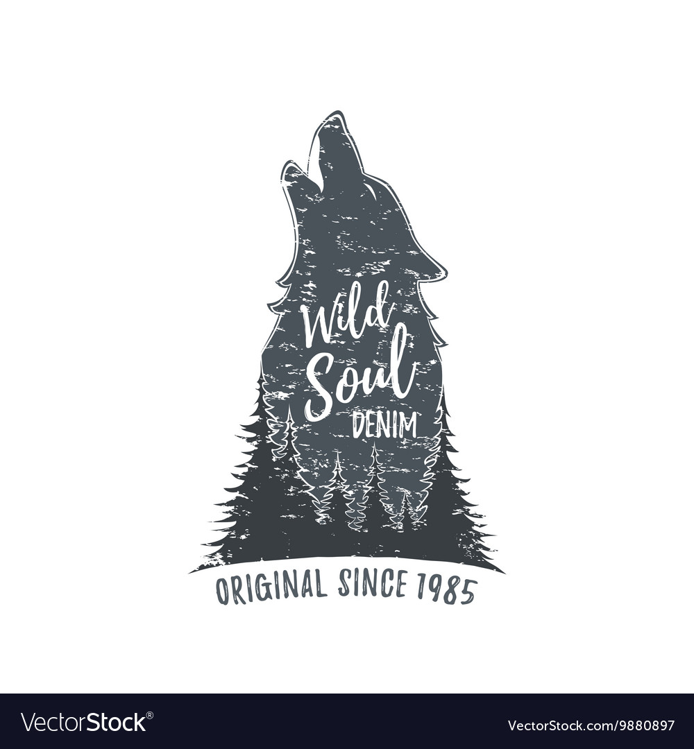 Wolf howling Grunge logo vector image