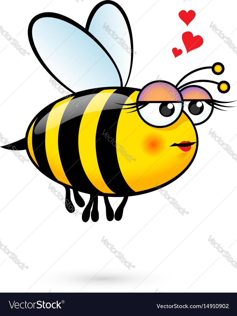 A friendly cute female bee in love