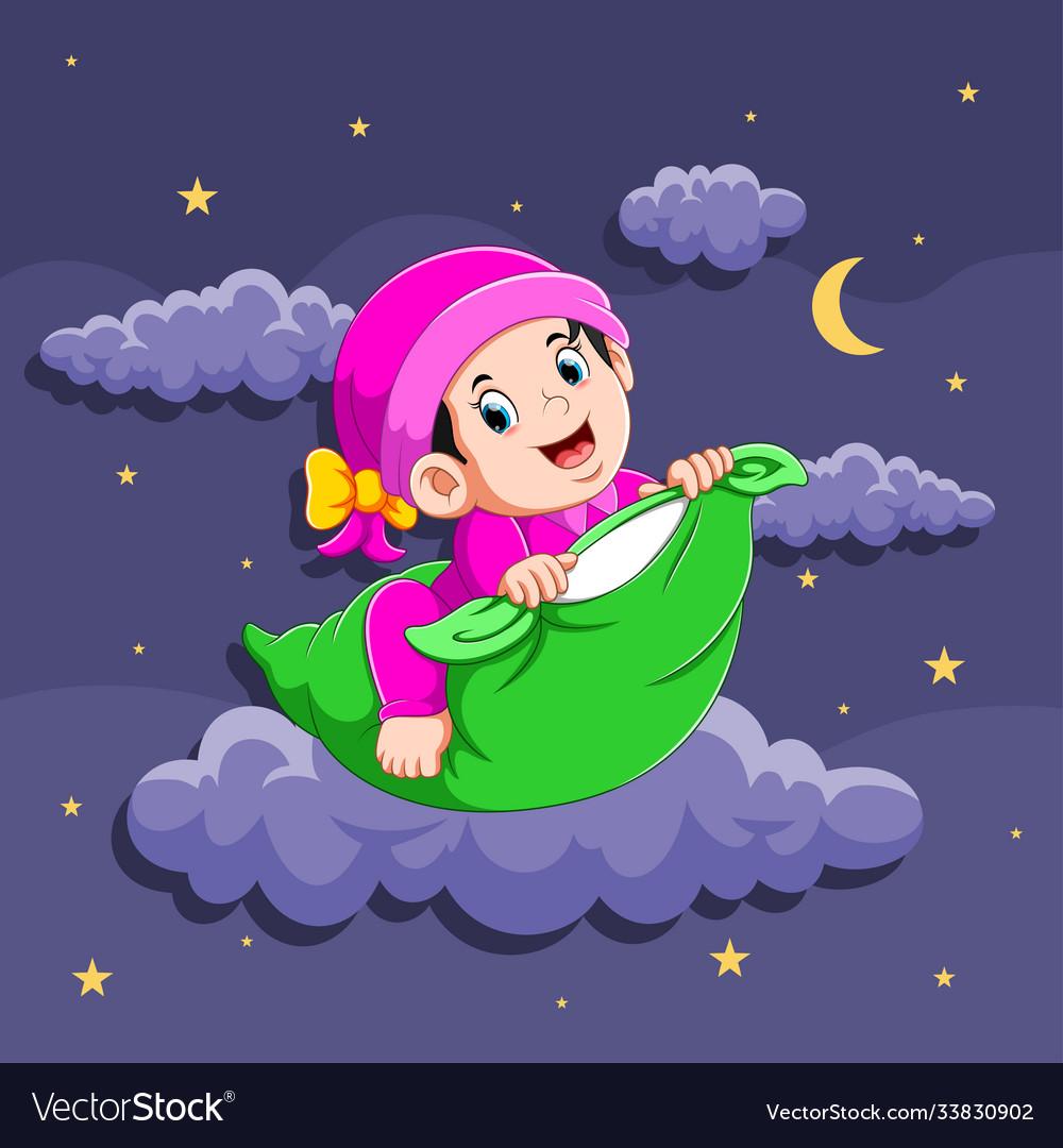 Baby girl is using sleepwear and holding