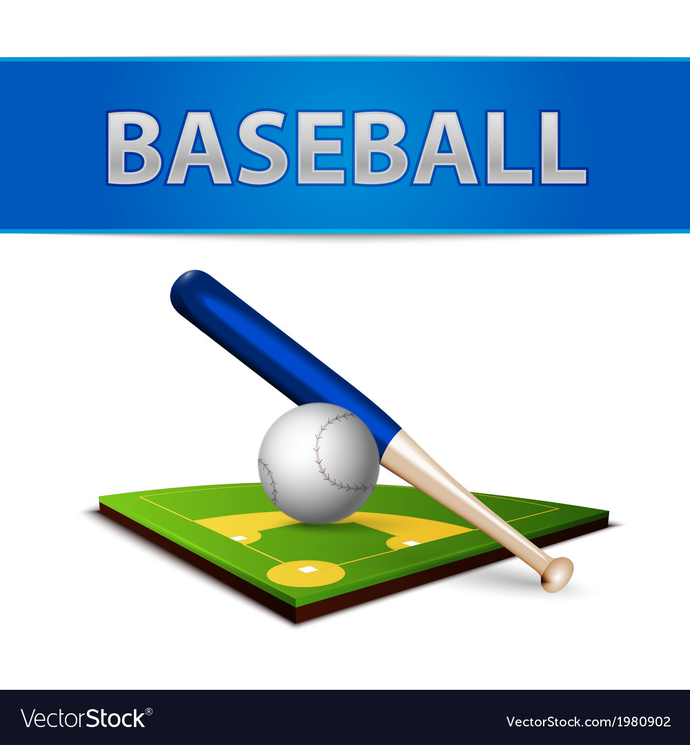 Baseball Ball Bat and Green Field Emblem vector image